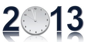 2013 year. Clock what show twelve o'clock Stock Photography