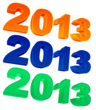 2013 year. Text 2013 in three colors on a white background Stock Photo