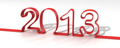 2013 Year. 2013 Happy New Year render Stock Illustration