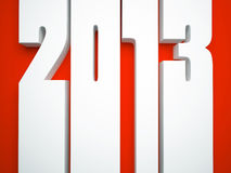 2013 year. Isolated on red background illustration Royalty Free Stock Photos
