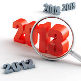 2013 year. New 2013 year under magnification and other years Stock Photography