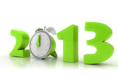 2013 year with alarm clock. 3D image Stock Photography