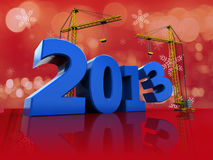 2013 year building. 3d illustration of crane building 2013 text, over red background Royalty Free Stock Image