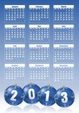 2013 year calendar. With christmas balls Stock Photo