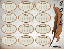2013 year calendar. Calendar on vintage background with feather vector illustration