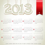 2013 year  calendar with ribbon. 2013 year  calendar with red ribbon Stock Photo