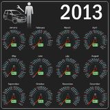 2013 year Calendar speedometer car in vector. Stock Photography