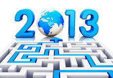 2013 year concept. 2013 year business abstract creative concept: path across labyrinth to 2013 year with blue Earth globe isolated on white background with Royalty Free Stock Photos