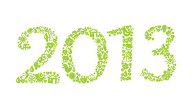 2013 year ecology sign. With symbols Royalty Free Stock Image