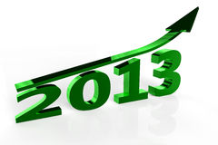 2013 Year of Growth. 2013 set against a white background with an upward pointing arrow over the top stock illustration