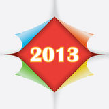 2013 year between paper. 2013 year between color paper stickers with bent corners, illustration Royalty Free Stock Image