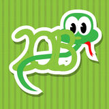 2013 year of the snake. With green background stock illustration
