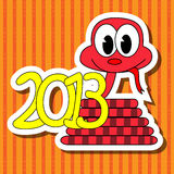 2013 year of the snake. With red background vector illustration