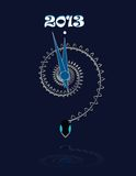 2013. Year of the snake. Abstract snake as a clock on dark blue background Stock Images