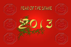 2013 Year of the snake. Background red with cast of zodiac Chinese symbol of snake, and number 2013 with bamboo Stock Photos