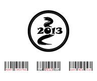 2013 year of snake with barcode. Vector illustration Stock Photos