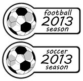 2013 Year Soccer Sign. 2013 Football Season Sticker showing Spatial Soccer ball Royalty Free Stock Image