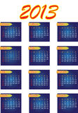 2013 Year vector calendar. The week starts on Sunday Royalty Free Stock Images