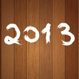 2013 year white on wood.  + EPS8. Vector file Royalty Free Stock Image