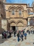 耶路撒冷,以色列- 2013年2月15日:游人繁忙运输  免版税库存照片