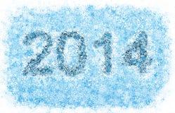 2014 år titel, frostiga snowflakes Arkivfoto
