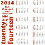 2014 12 month calendar. A calendar for 2014 featuring the year written in red Vector Illustration