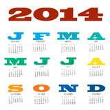 2014 12 month calendar. A 12 month calendar for 2014 with bold colourful titles Vector Illustration