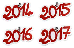 2014, 2015, 2016, 2017 year stickers Royalty Free Stock Photos