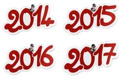 2014, 2015, 2016, etiquetas engomadas de 2017 años stock de ilustración