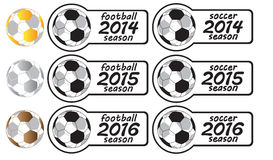 2014 - 2016 Football Season Signs With Medals. From 2014 to 2016 football season signs with gold, silver and brown medals stock illustration