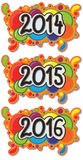 2014 - 2016 Year Sign on Abstract Bubble Background. From 2014 to 2016 year sign hand drawn on abstract colourful bubble background also hand drawn in cartoon Stock Image