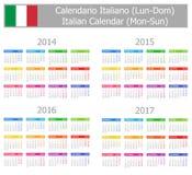 2014-2017 mon-Zon van de Kalender van het Type 1 de Italiaanse Stock Afbeeldingen