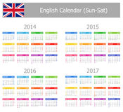 2014-2017 Type-1 English Calendar Sun-Sat Stock Photo