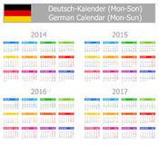 2014-2017 Type-1 German Calendar Mon-Sun. On white background Royalty Free Stock Photos