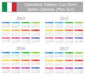 2014-2017 Type-1 Italian Calendar Mon-Sun. On white background Stock Images