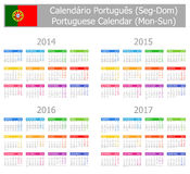 2014-2017 Type-1 Portuguese Calendar Mon-Sun. On white background Stock Photos