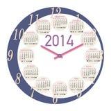 круглый календарь часов 2014 Стоковое Фото