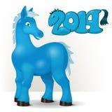 逗人喜爱的蓝色马祝愿一新年好2014年 库存图片