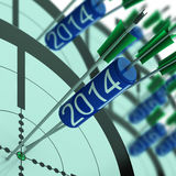 2014 Accurate Dart Target Shows Successful Future. 2014 Accurate Dart Target Showing Successful Future Royalty Free Stock Image