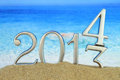 2014 on the beach royalty free stock photography