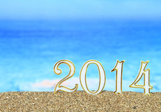 2014 on the beach Royalty Free Stock Image