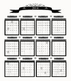 2014 Big Professional Business Calendar. Professional business looking black and white 2014 calendar with large blocks and highlighted holidays stock illustration