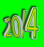 2014 Brazil soccer year!. Concept 3D of Fifa World Cup 2014 on green background Royalty Free Stock Image