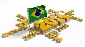 2014 Brazilian Flag. With a White Background Royalty Free Stock Image