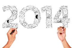 2014 business plan concept ideas. Hand drawing on whiteboard Stock Photo