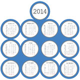 2014 calendar with blue circles Royalty Free Stock Image