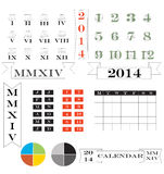 2014 calendar and elements. A set of 2014 calendars and calendar design elements featuring roman numerals Stock Photo
