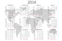 2014 Calendar with world map. Over white vector illustration