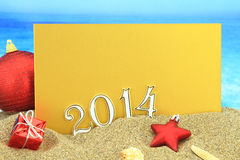 2014 card on the beach Royalty Free Stock Images