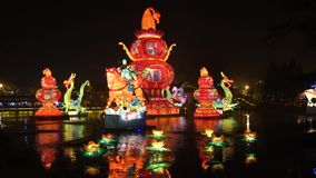 2014 Chinese New Year temple fair and lantern festival stock video footage
